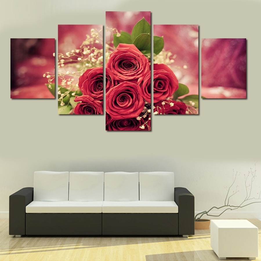 Orchid Wall Painting Flower Canvas Painting Home Decoration Regarding Fashionable Rose Canvas Wall Art (View 8 of 15)