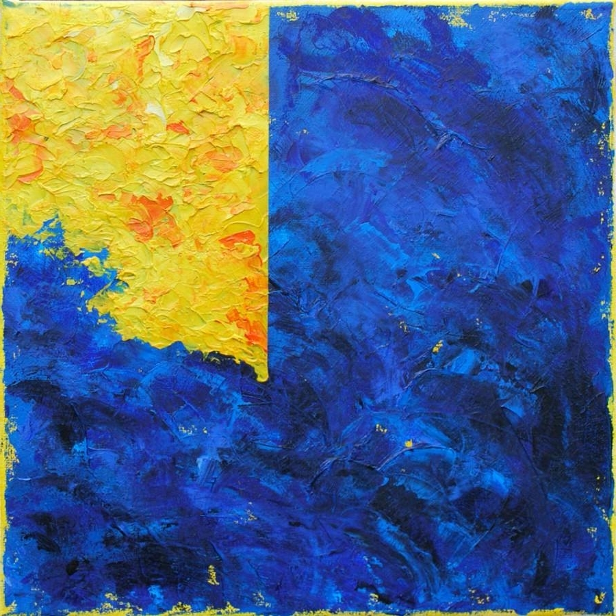 Original Abstract Contemporary Oil Painting, Modern Textured Blue Throughout Best And Newest Yellow And Blue Wall Art (View 9 of 15)