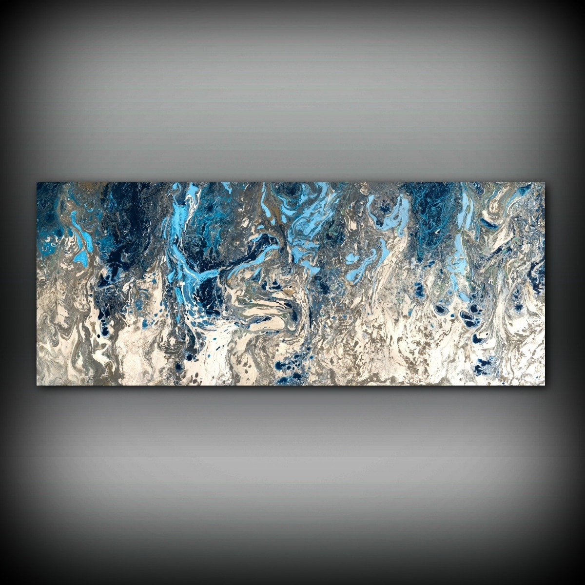 Original Abstract Wall Art Throughout Most Current Original Painting, Navy Blue And Gray Painting Abstract Painting (Gallery 11 of 15)
