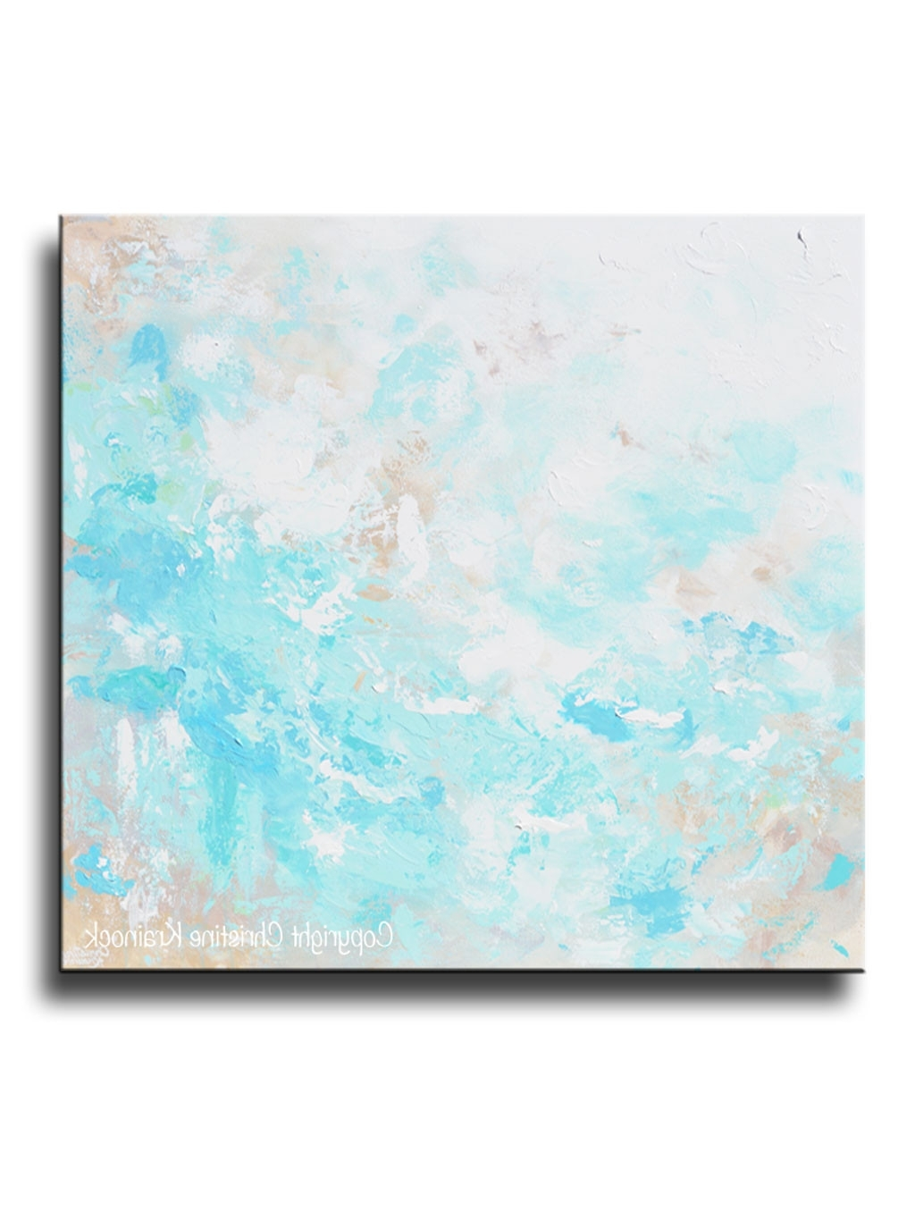 Original Art Blue Abstract Painting Textured Coastal Beach Artwork With Regard To Most Current Aqua Abstract Wall Art (View 6 of 15)