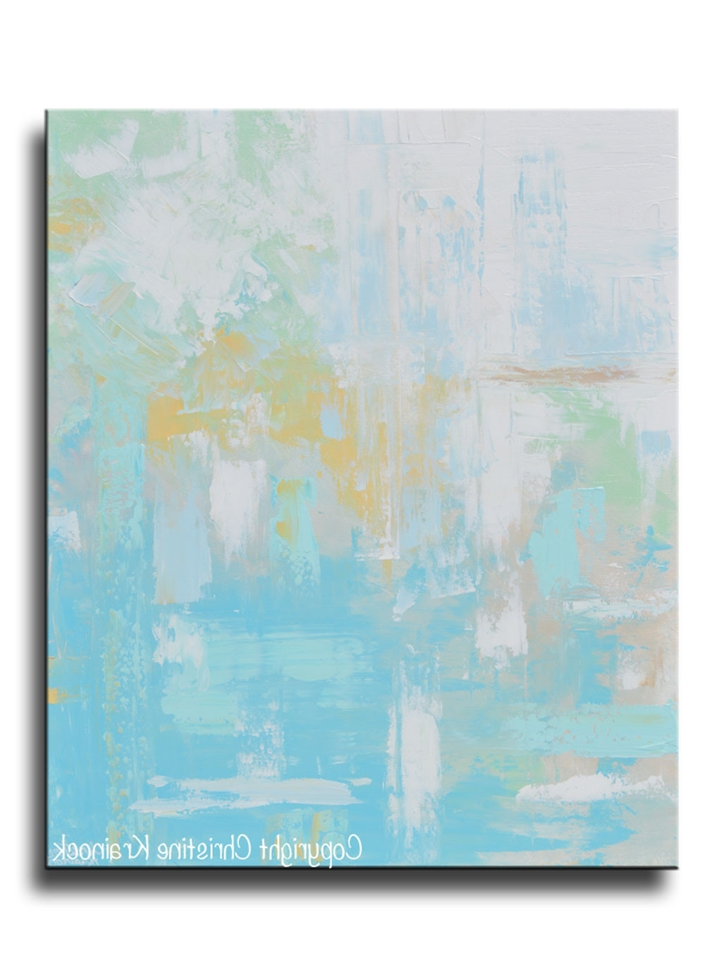 Original Art Light Blue Abstract Painting Aqua Blue Green Yellow Inside Most Recently Released Yellow And Grey Abstract Wall Art (View 10 of 15)