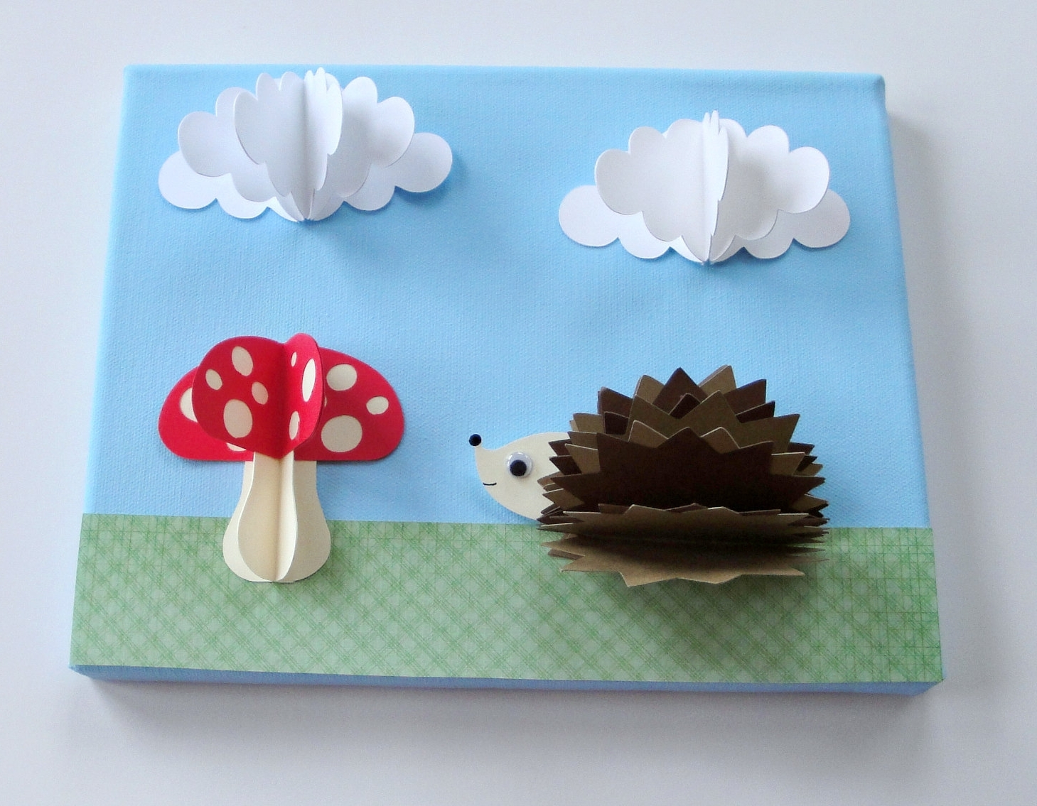 Original Hedgehog And Mushroom 3D Paper Wall Art On 8 X 10 Canvas In Fashionable 3D Clouds Out Of Paper Wall Art (View 11 of 15)