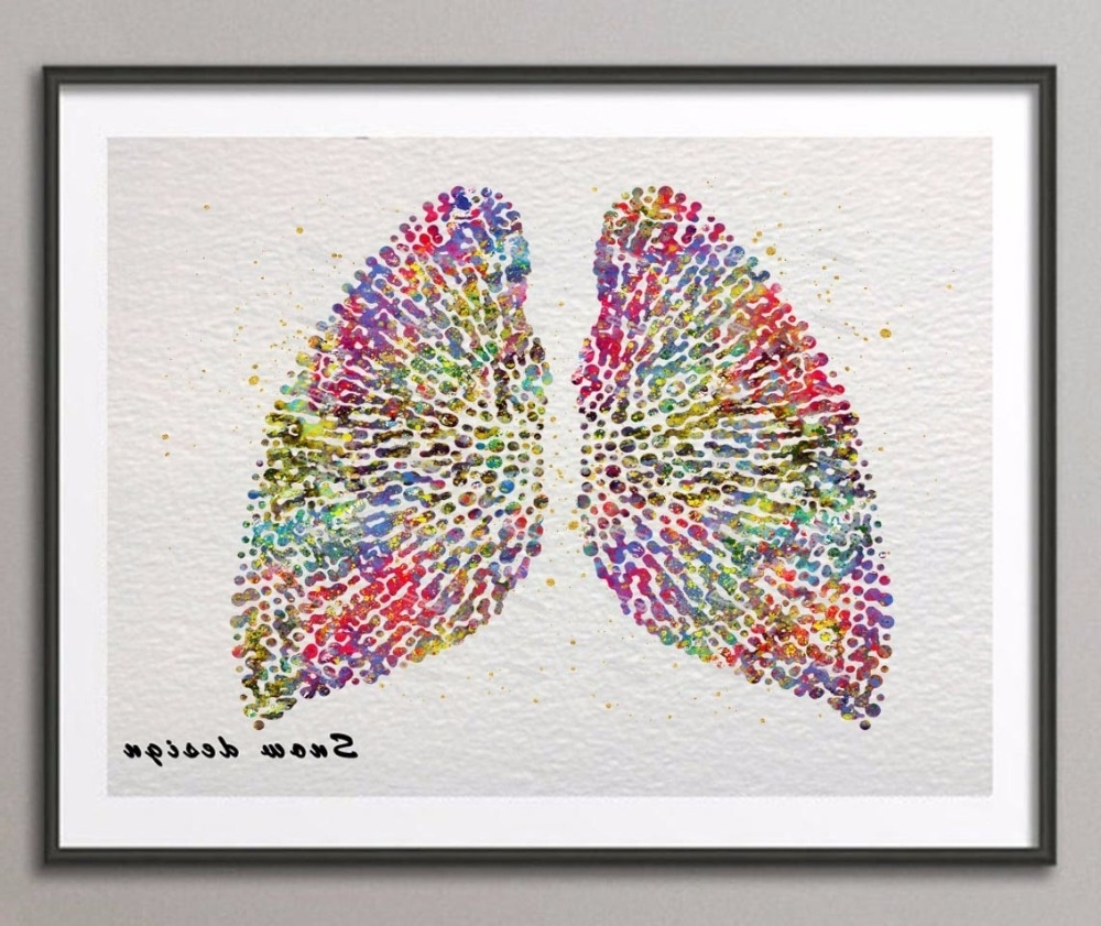 Original Watercolor Human Lungs Poster Print Pictures Canvas Within Recent Medical Wall Art (Gallery 8 of 15)
