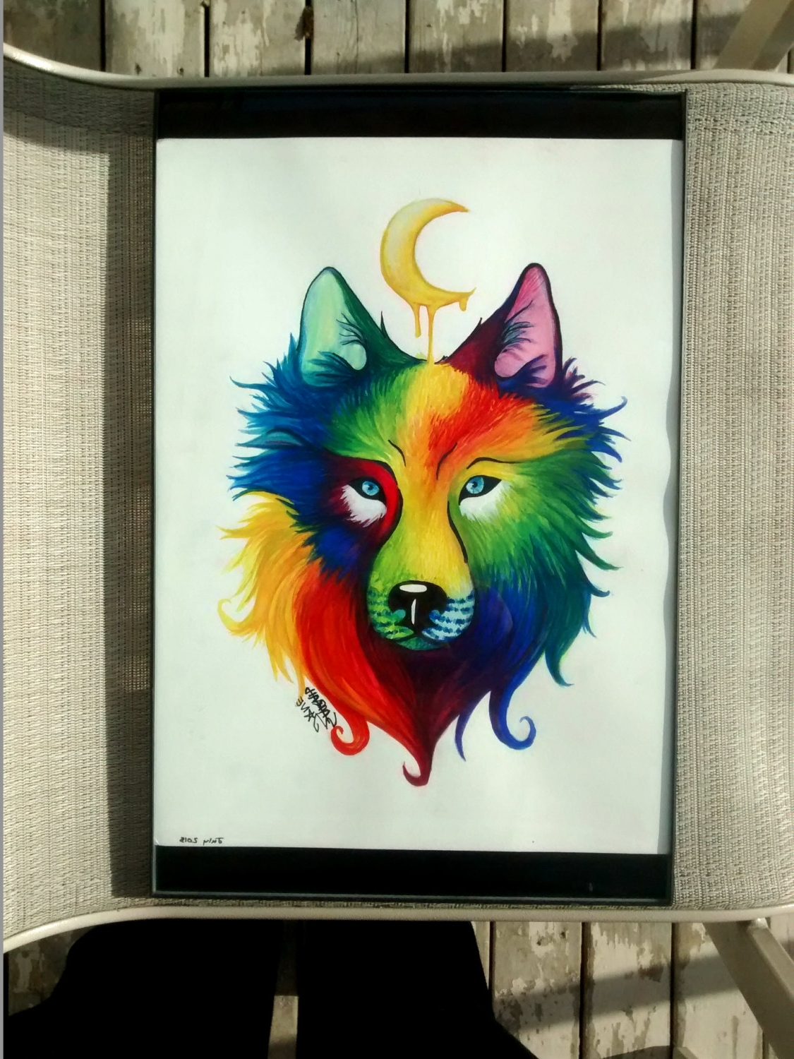 Original Watercolor Painting Artwork Of Rainbow Wolf, Animal Wall Intended For Famous Abstract Animal Wall Art (View 10 of 15)