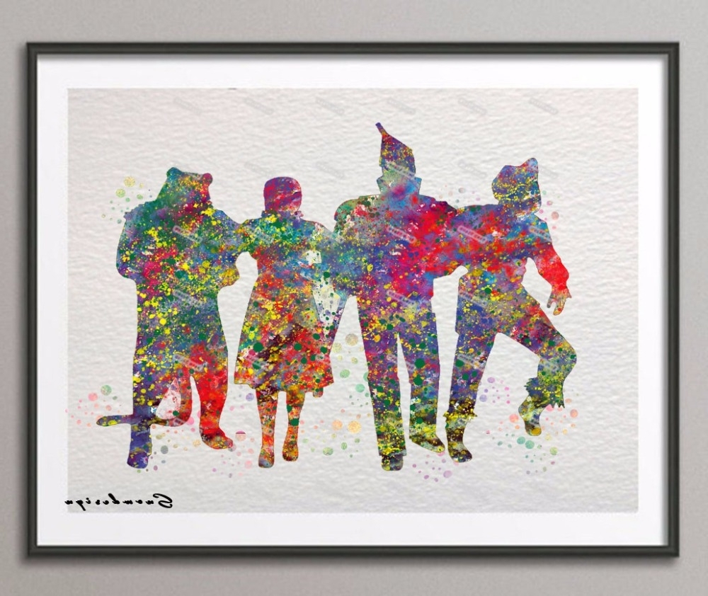 Original Watercolor Wizard Of Oz Canvas Painting Pop Wall Art Intended For Fashionable Wizard Of Oz Wall Art (View 5 of 15)