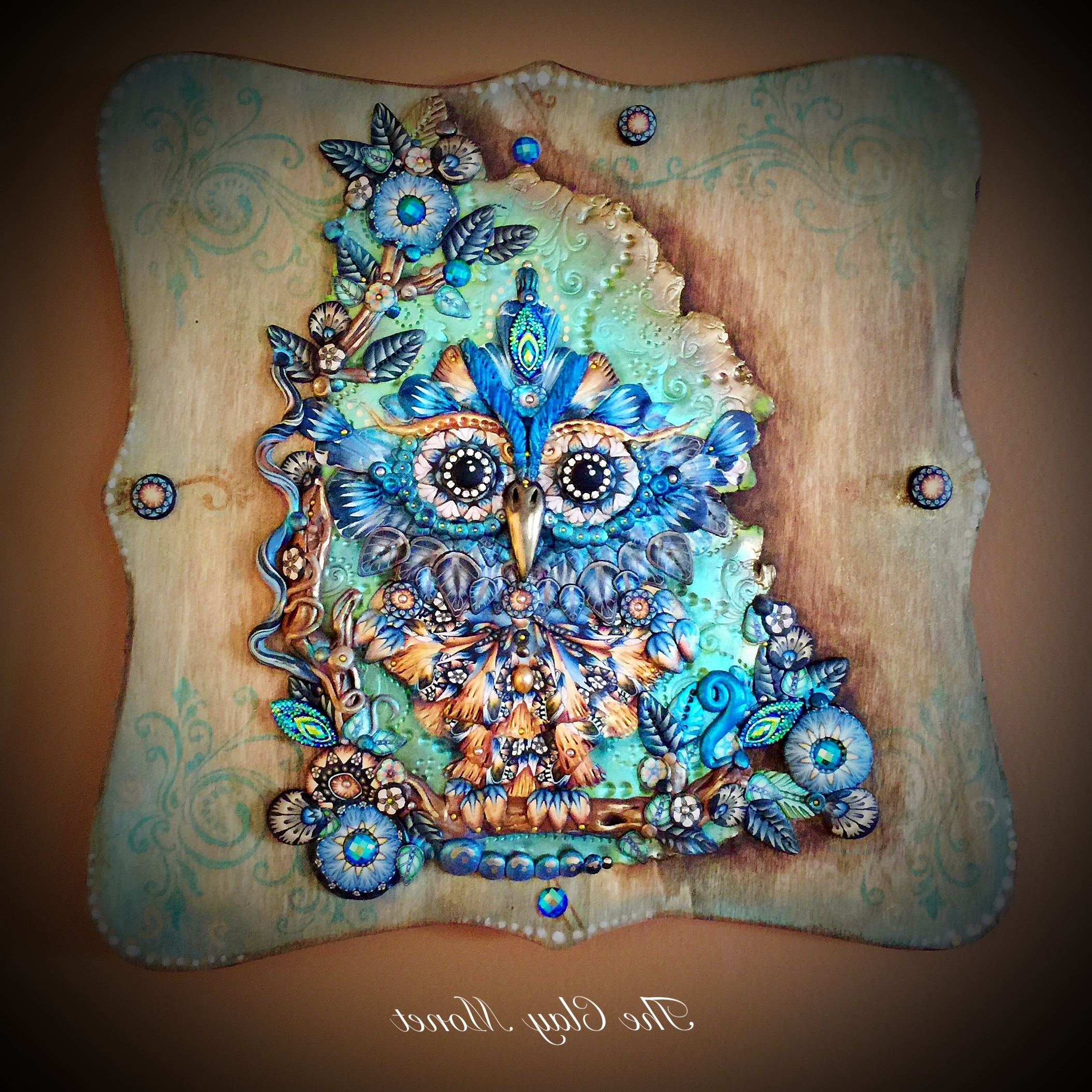Ornate Owl Complex Polymer Clay Cane Hanging Wooden Wall Plaque With Regard To Best And Newest Polymer Clay Wall Art (View 5 of 15)