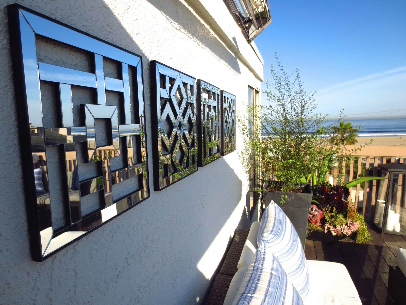 Outdoor Mirror Wall Art Throughout Well Known Exterior: Outdoor Wall Art With Green Garden And Wrought Iron (View 2 of 15)
