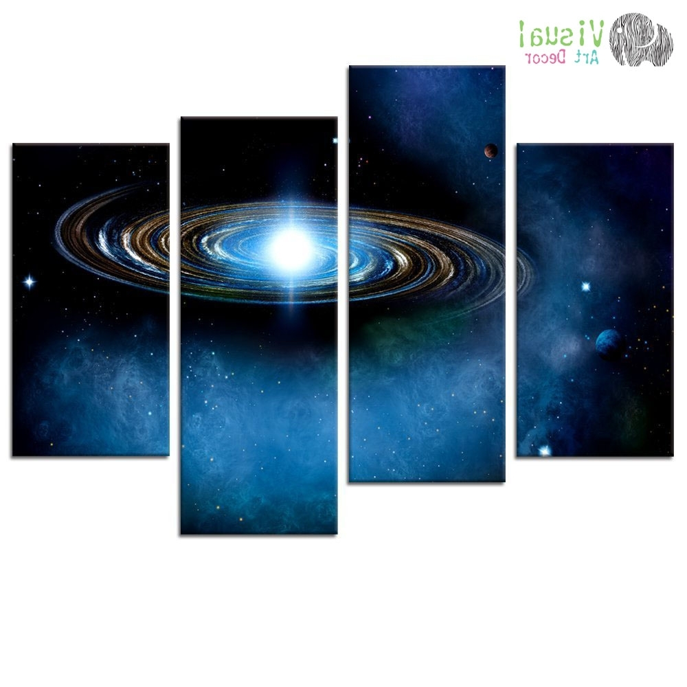 Outer Space Wall Art With Current Blue Starry Canvas Wall Art Prints Outer Space Planet Canvas (View 2 of 15)