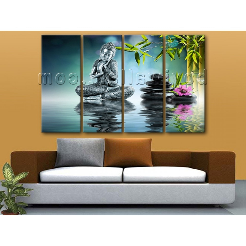 Oversized Buddha Yin Yang Painting On Canvas Living Room Four Within Most Popular Yin Yang Wall Art (View 7 of 15)