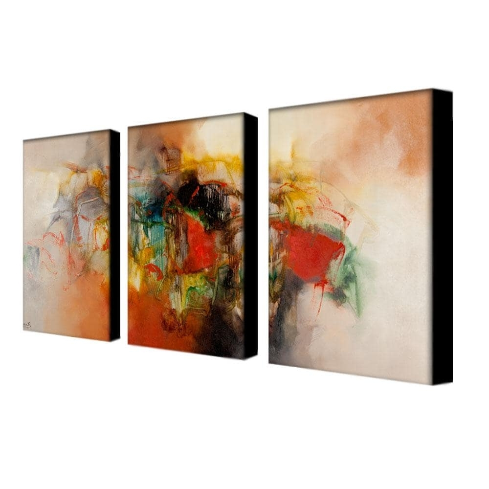 Overstock Abstract Wall Art Pertaining To Current Zavaleta 'abstract Vi' 3 Piece Art Set – Free Shipping Today (View 9 of 15)