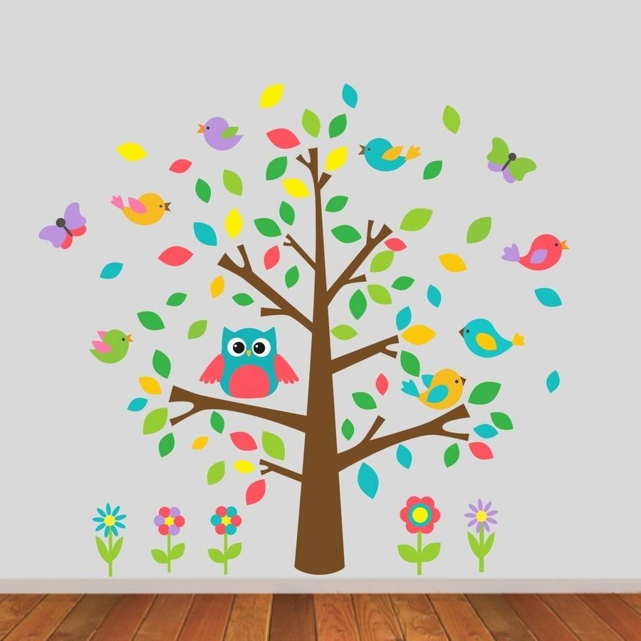 Owl And Birds Tree Scene Wall Stickermirrorin With Best And Newest Owl Wall Art Stickers (View 7 of 15)