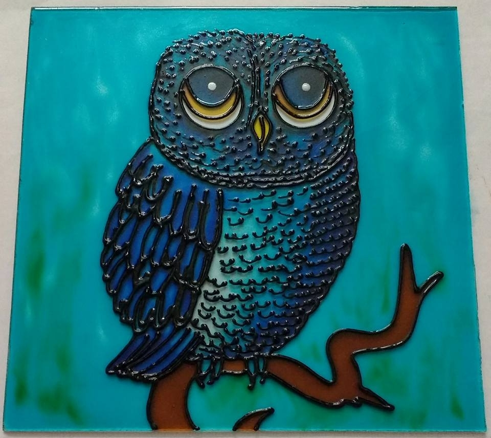 Owl Framed Wall Art With Current Framed Owl Glass Painting Using Glass Painting Technique (View 13 of 15)