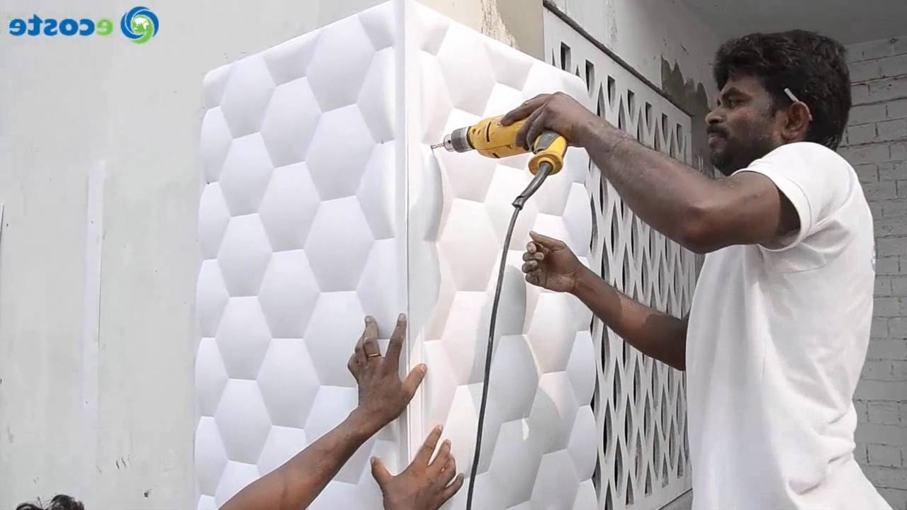Painting 3d Wall Panels Regarding Newest Ecoste Clad Ex 3d Wall Panels Installation (View 7 of 15)