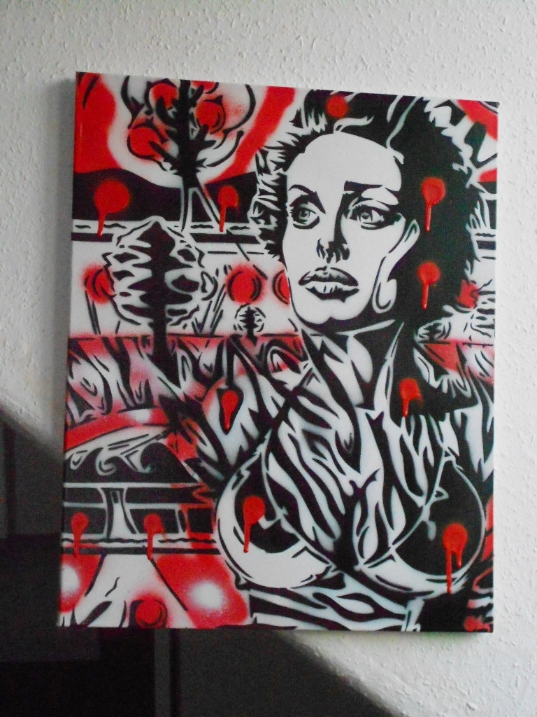 Painting Of Woman On Canvas,stencil Art,zebra,jungle,angelina Throughout Popular Zebra Wall Art Canvas (View 7 of 15)