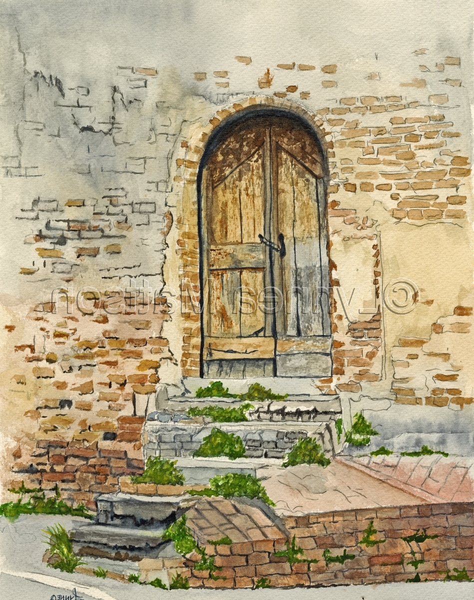 "Painting : ""the Old Door In Certaldo, Italy"" (Original Art Inside Recent Old Italian Wall Art (View 11 of 15)"