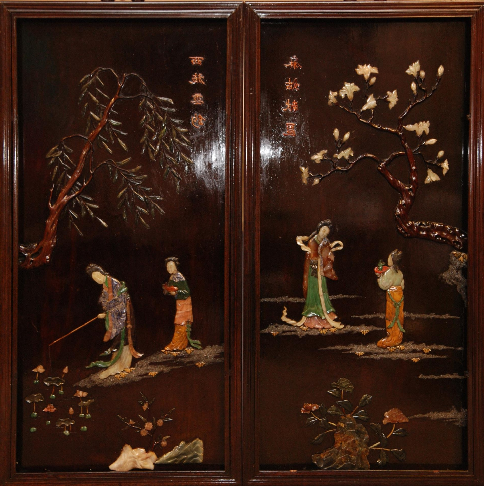Pair Chinese Wood Jade Inlay Panels Pair Of Large Chinese With Regard To Well Known Italian Inlaid Wood Wall Art (View 9 of 15)