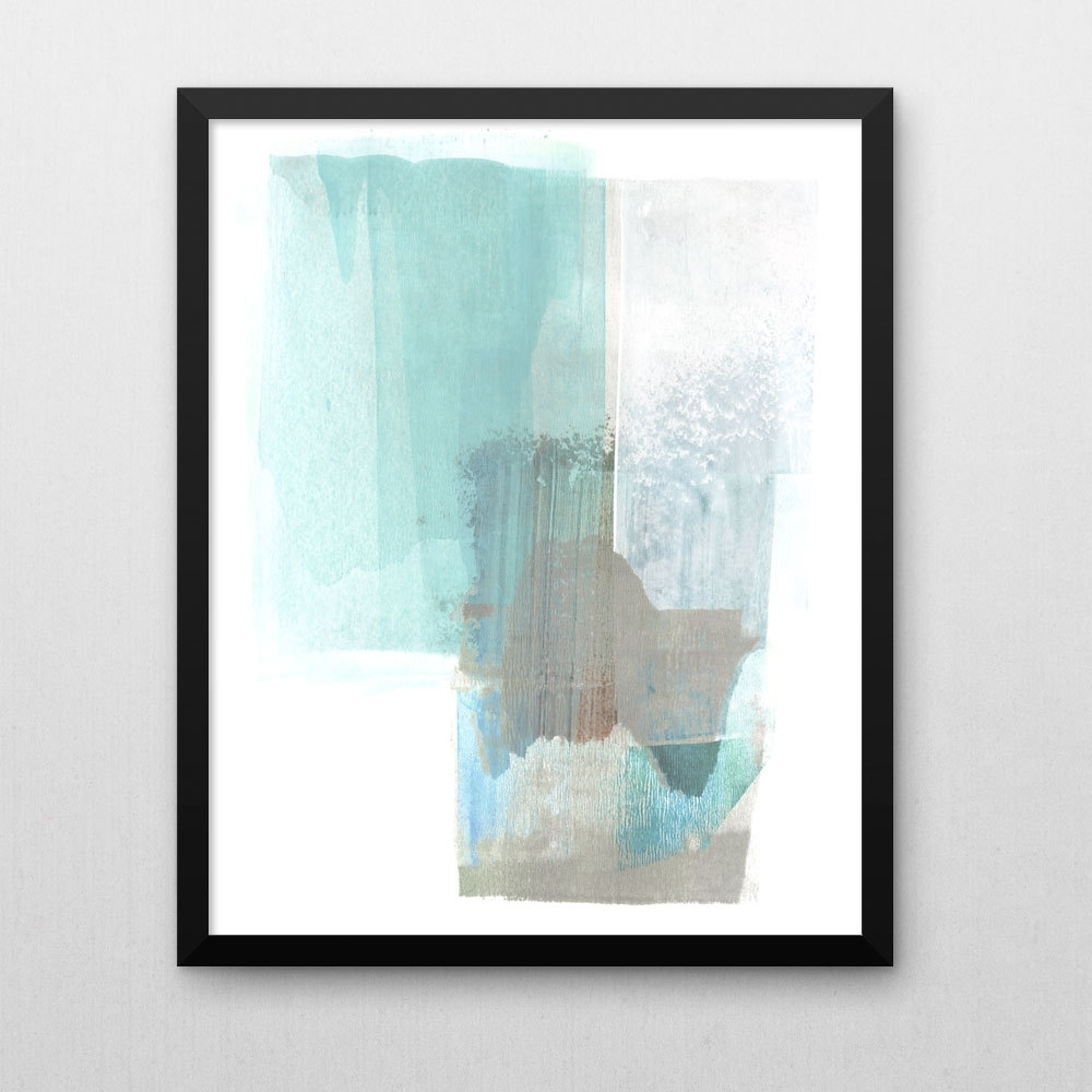Pale Turquoise Blue & Brown Abstract Wall Art, Scandinavian Art Within Famous Brown Abstract Wall Art (View 9 of 15)