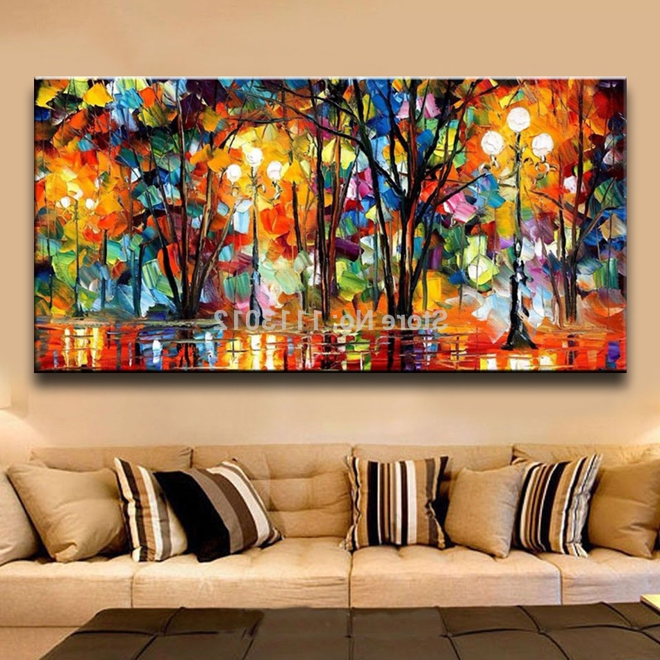 Palette Knife Large Multicolor Abstract Oil Painting On Canvas Intended For Most Recently Released Large Abstract Wall Art (View 11 of 15)