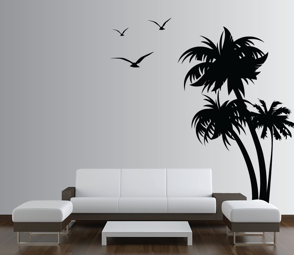 Palm Coconut Tree Wall Decal With Birds (3 Trees) #1132 In Newest Oak Tree Vinyl Wall Art (View 10 of 15)