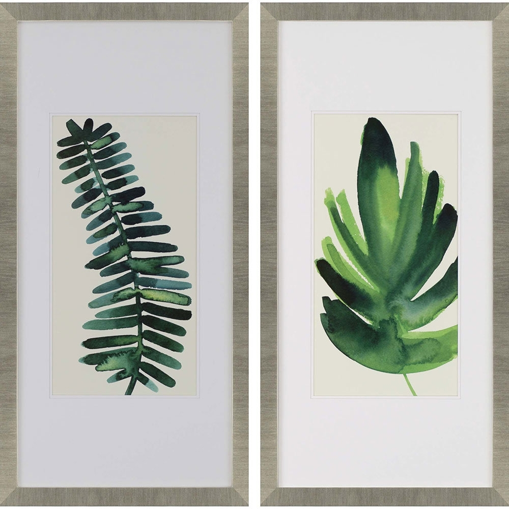 "Palm Leaf Wall Art Pertaining To Newest Paragon ""palm Leaves I"" 2 Piece Framed Wall Art Set & Reviews (View 7 of 15)"