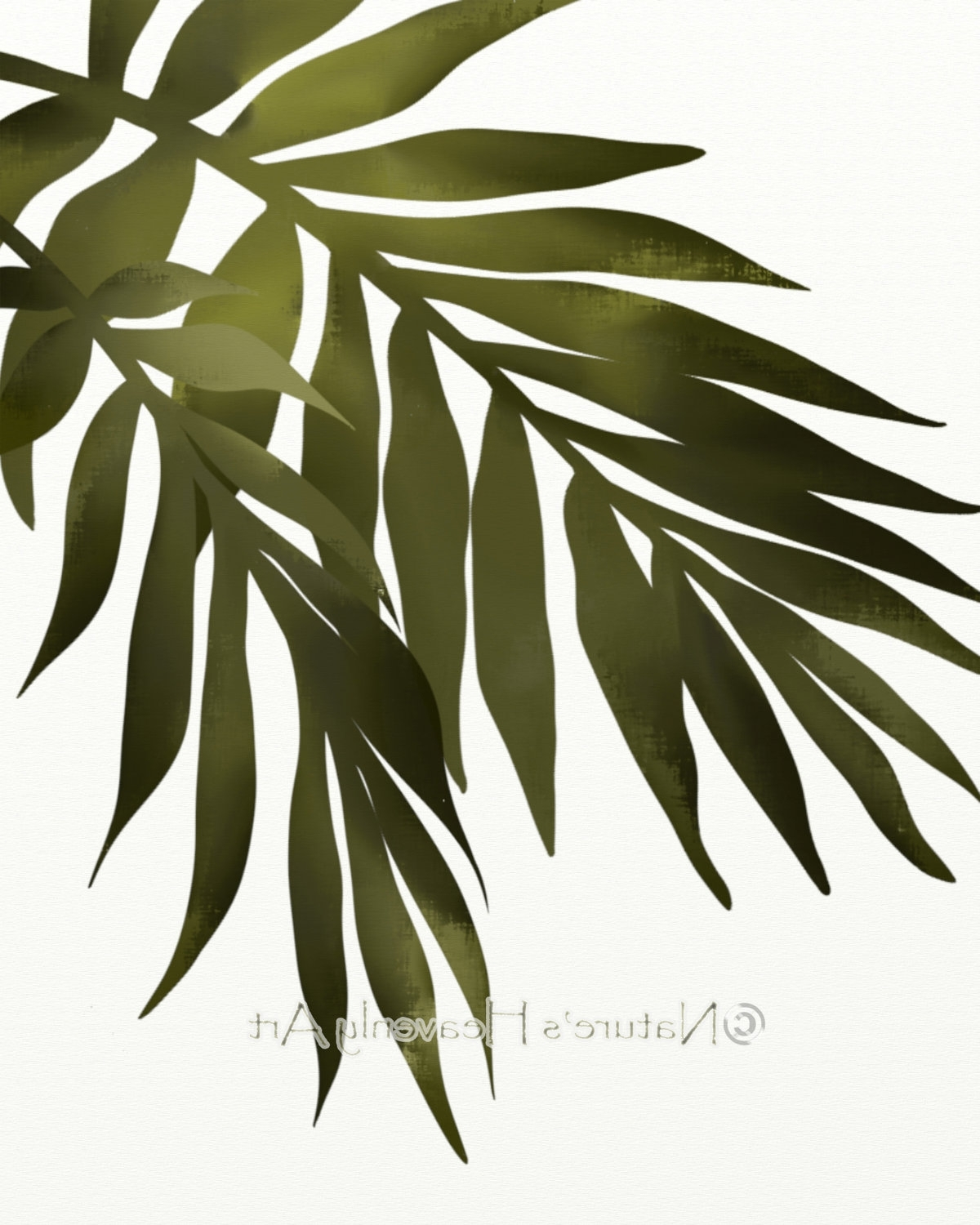 Palm Leaf Wall Art Print, Tropical Decor, 8 X 10 Print, Green Within Preferred Palm Leaf Wall Art (View 8 of 15)