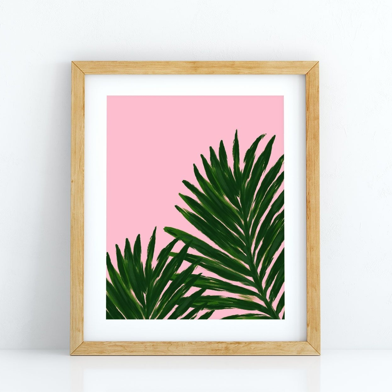 Palm Leaf Wall Art With Regard To Preferred Palm Leaf Print, Pink Background, Palm Tree Leaf, Tropical (View 6 of 15)
