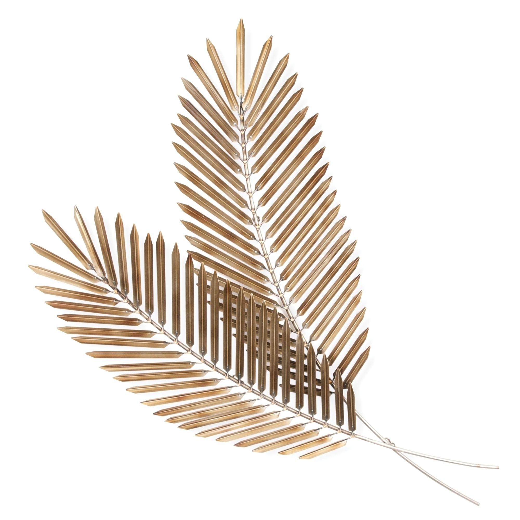 Palm Leaf Wall Decor Leaves Pair Floral Metal Art U2013 Ukrasheniya In  Preferred Palm Leaf Wall