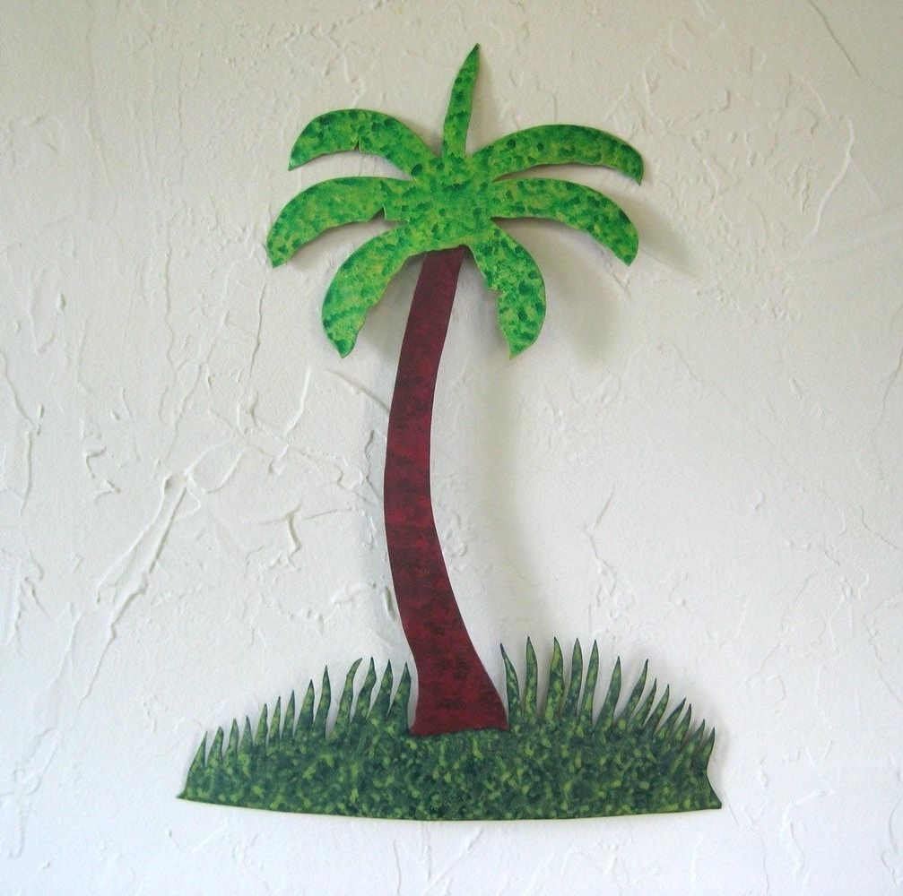 Palm Tree Metal Art Inside Well Known Custom Made Handmade Upcycled Metal Palm Tree Wall Art Decor (View 7 of 15)