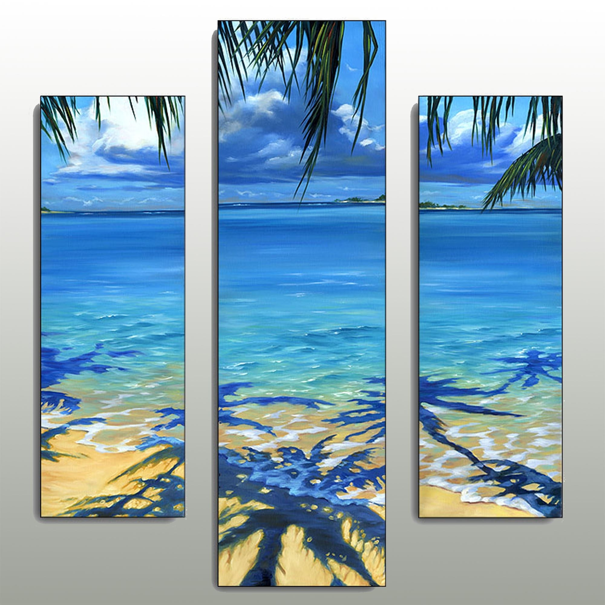 Palm Tree Shadow Beach Triptych Wall Art Set In Most Up To Date Beach Wall Art (View 7 of 15)