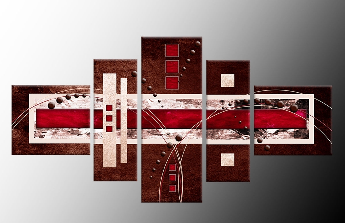 Panel Brown Red Cream Abstract Wall Art Canvasprint 58 Inch 148cm Regarding Latest Brown Abstract Wall Art (View 2 of 15)