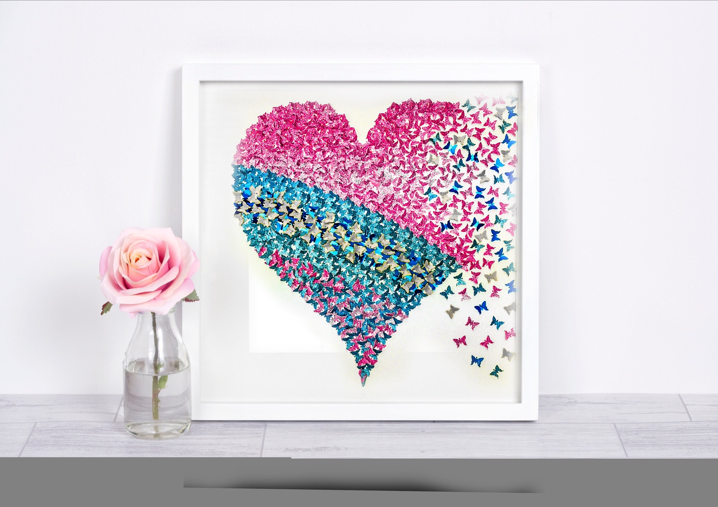 Paper Butterfly , 3D Butterfly Wall Art, Butterfly Heart Pertaining To Fashionable Heart 3D Wall Art (View 12 of 15)