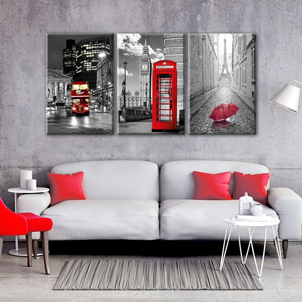Paris Black And White With Eiffel Tower Red Car Umbrellas Wall Art Inside Famous Black And White Paris Wall Art (View 9 of 15)