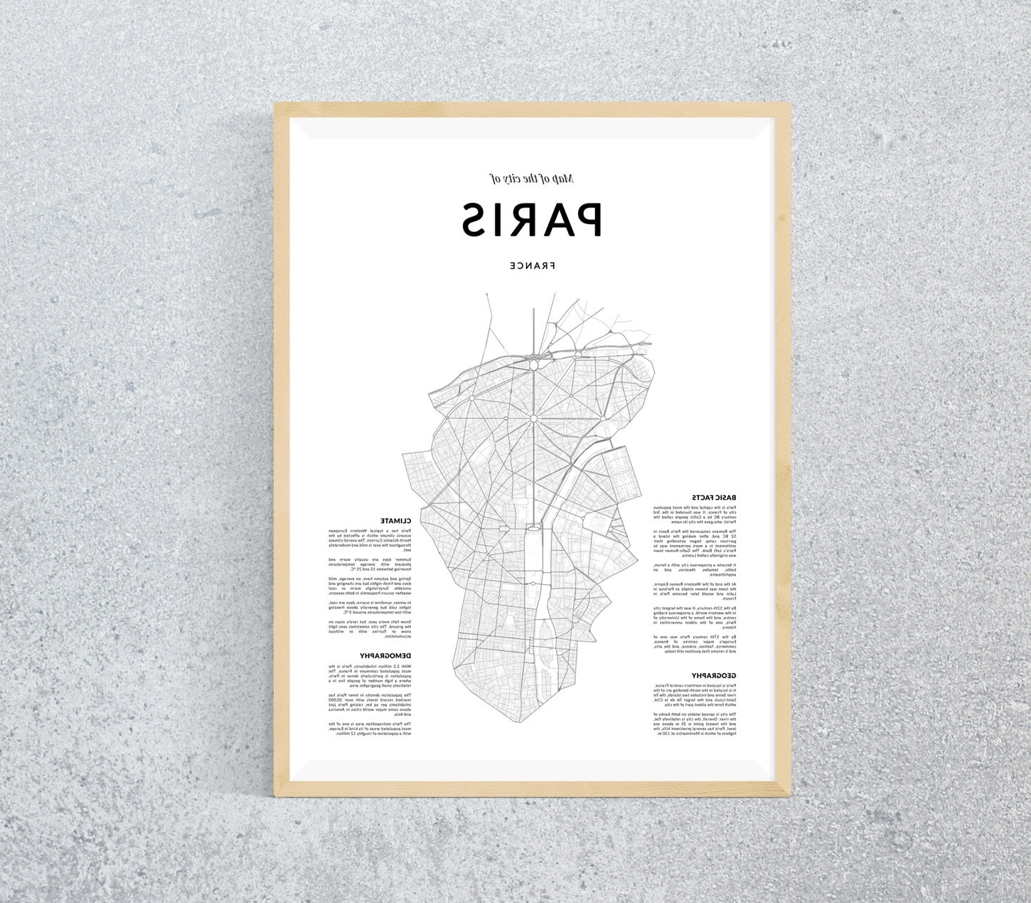 paris map paris wall art wall art paris print paris for best and newest map of