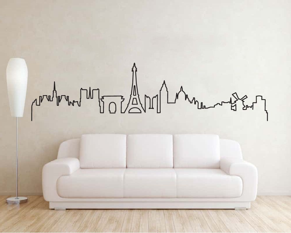 Paris Skyline Wall Sticker, Eiffel Tower Silhouette Decal, Paris In Well Liked Paris Vinyl Wall Art (View 11 of 15)