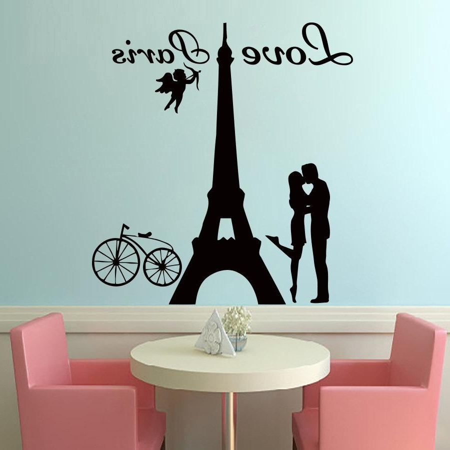 Paris Vinyl Wall Art Pertaining To Most Up To Date 2017 Hot Sale Angels Love Paris Wall Decals Lover Kissing And Bike (View 2 of 15)