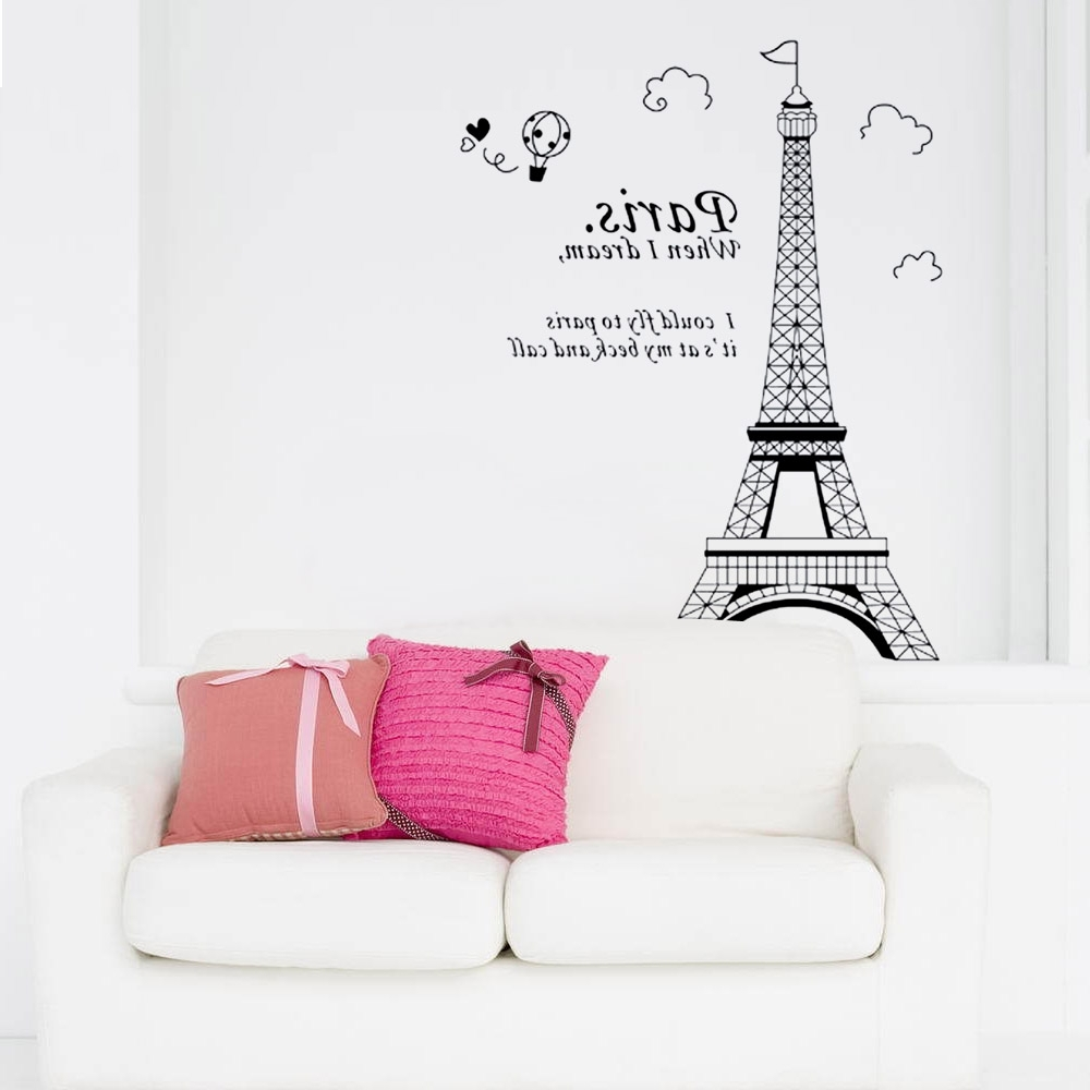 Paris Vinyl Wall Art Within Recent 3D Paris Eiffel Tower Diy Removable Wall Sticker Vinyl Art Decal (View 7 of 15)