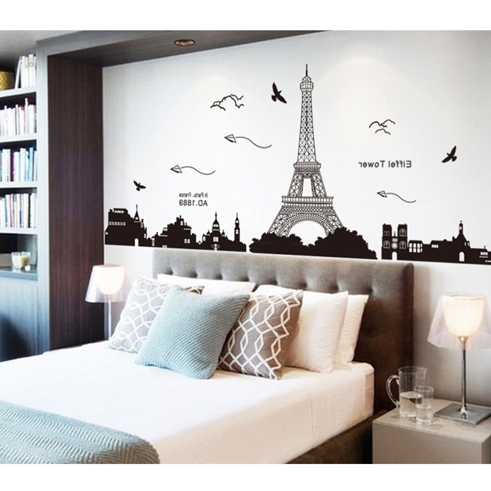 Parisian Wall Art In Preferred Bedroom Home Decor Removable Paris Eiffel Tower Art Decal Wall (View 9 of 15)