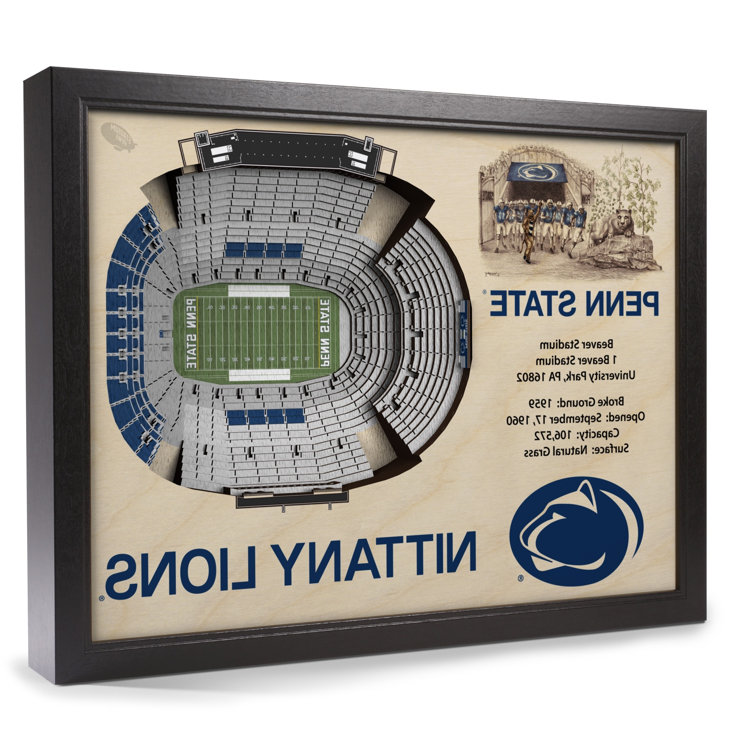Penn State Wall Art Regarding Well Liked Penn State Nittany Lions Stadiumview Wall Art – Beaver Stadium 3 D (View 9 of 15)
