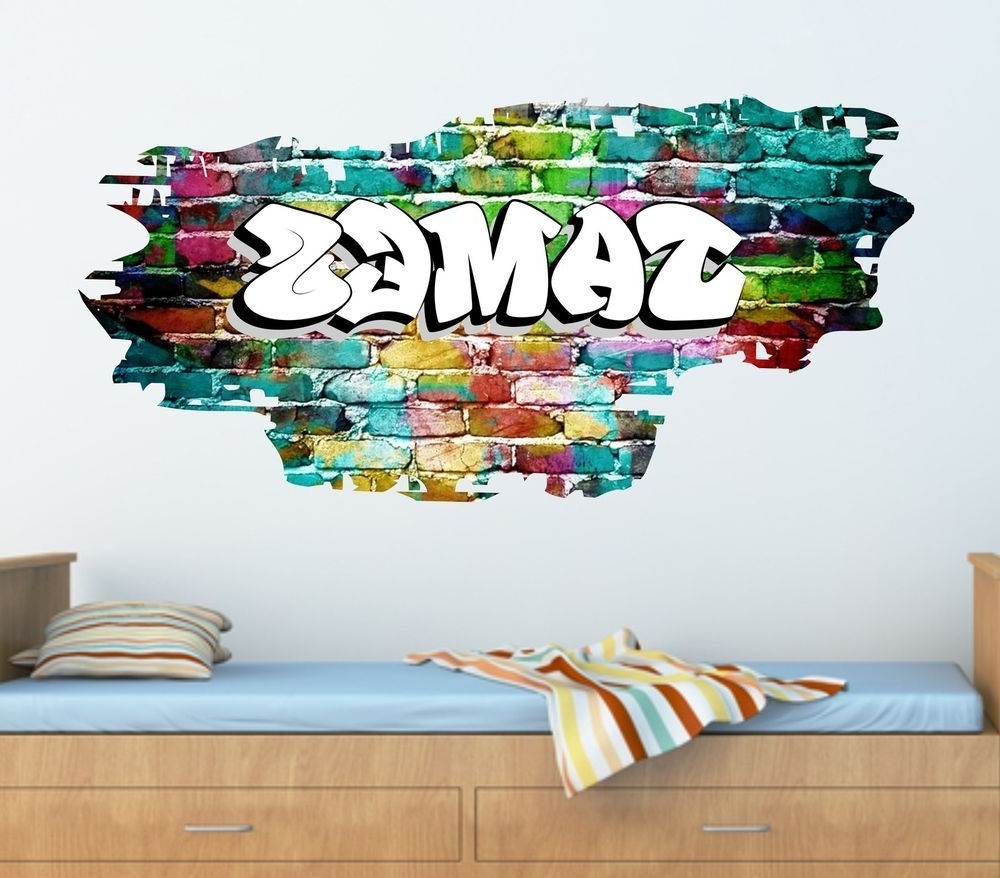 Personalised Graffiti Brick & Name Wall Sticker,decal, Graphic Regarding Widely Used Graffiti Wall Art Stickers (View 11 of 15)