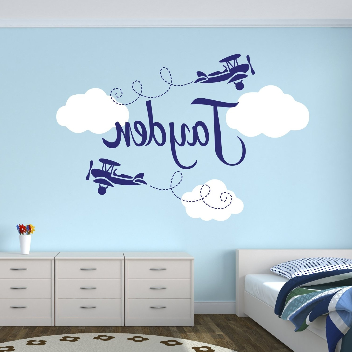 Personalized Airplane Name Clouds Decal Nursery Decor Home With Regard To Fashionable Wall Art Stickers For Childrens Rooms (View 8 of 15)