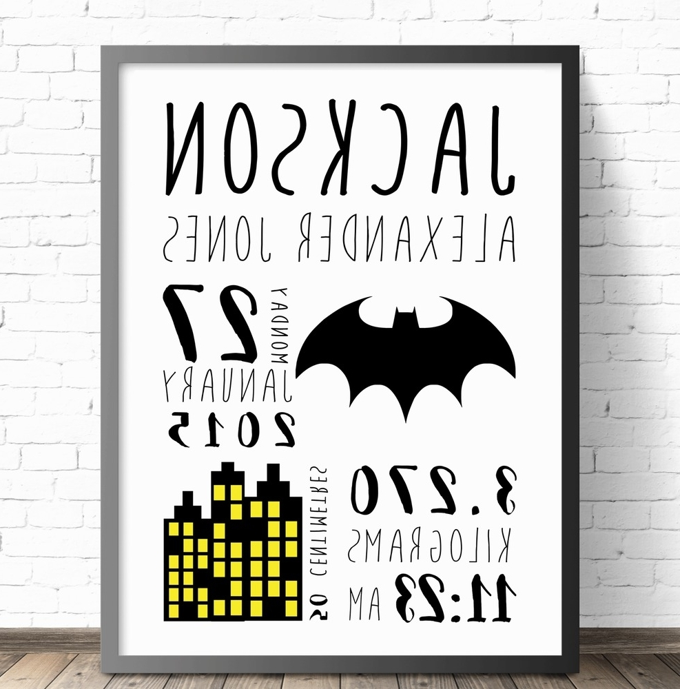 Personalized Baby Wall Art Throughout Trendy Batman Personalised Baby Nursery Wall Art Print, Birth (View 11 of 15)