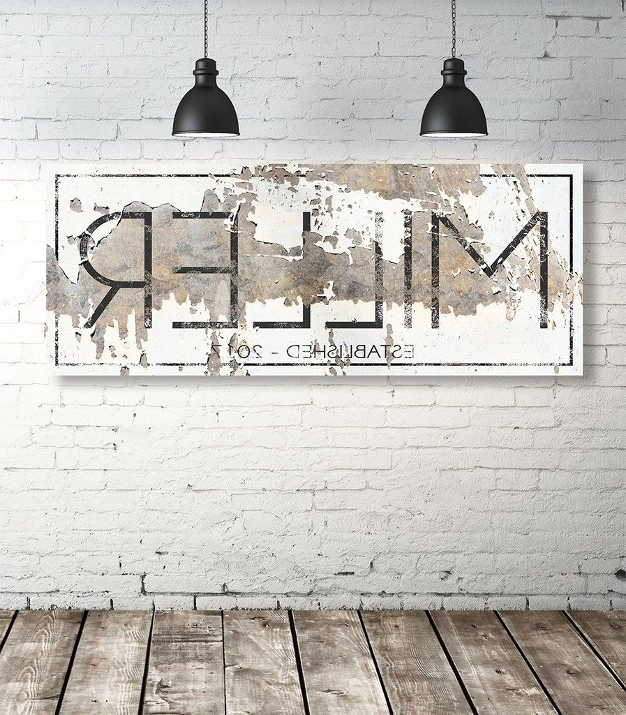 Personalized Family Wall Art Regarding Most Recent Modern Last Name Sign – Personalized Family Name Wall Art (View 12 of 15)