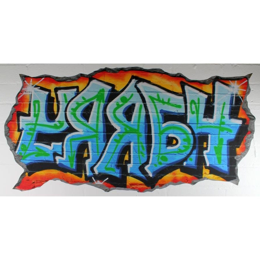 Personalized Graffiti Wall Art Intended For Newest Personalised Blue Graffiti Wall Stickersnest (View 5 of 15)