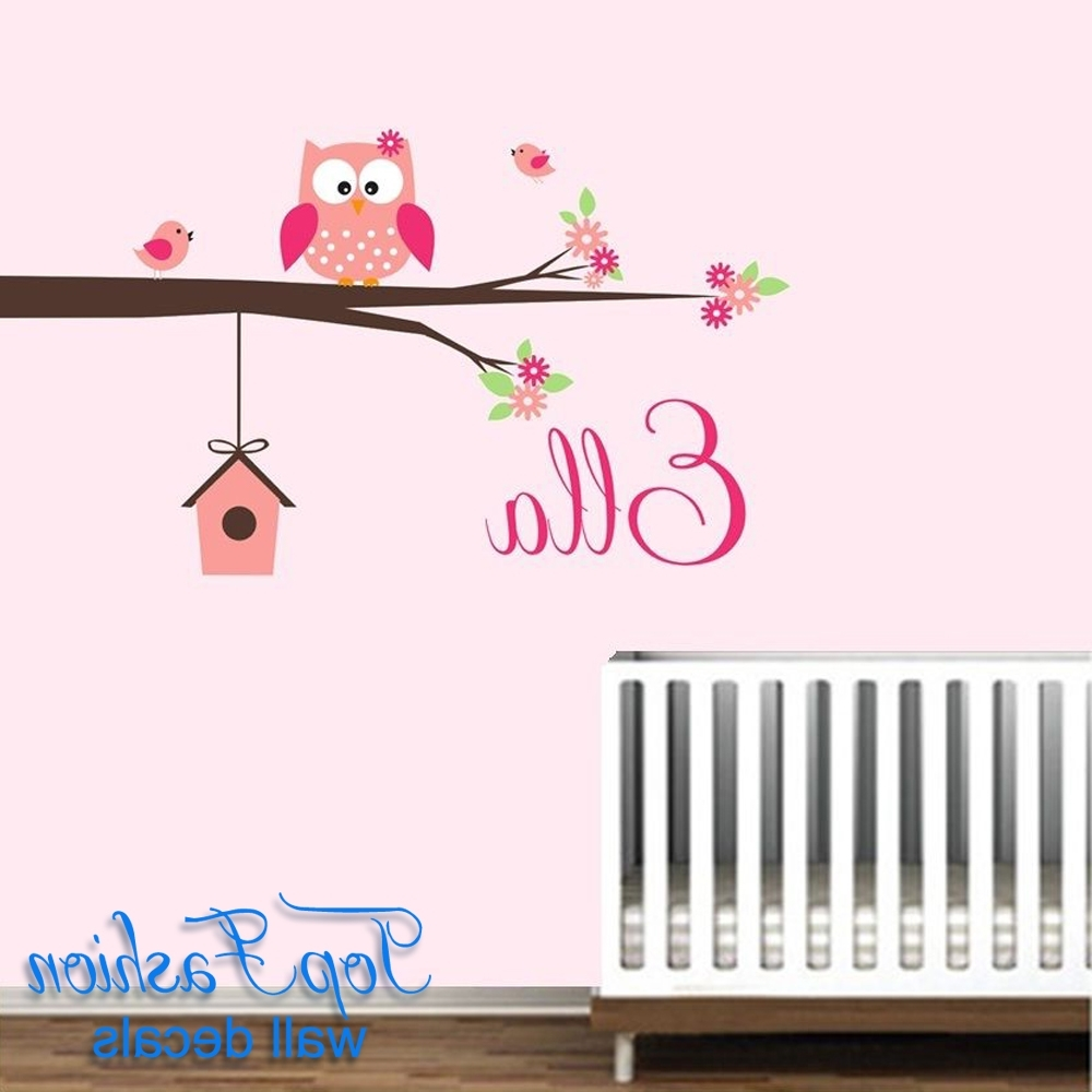 Personalized Name Owl Wall Decal With Birds Birdhouse Children For Best And Newest Owl Wall Art Stickers (View 10 of 15)