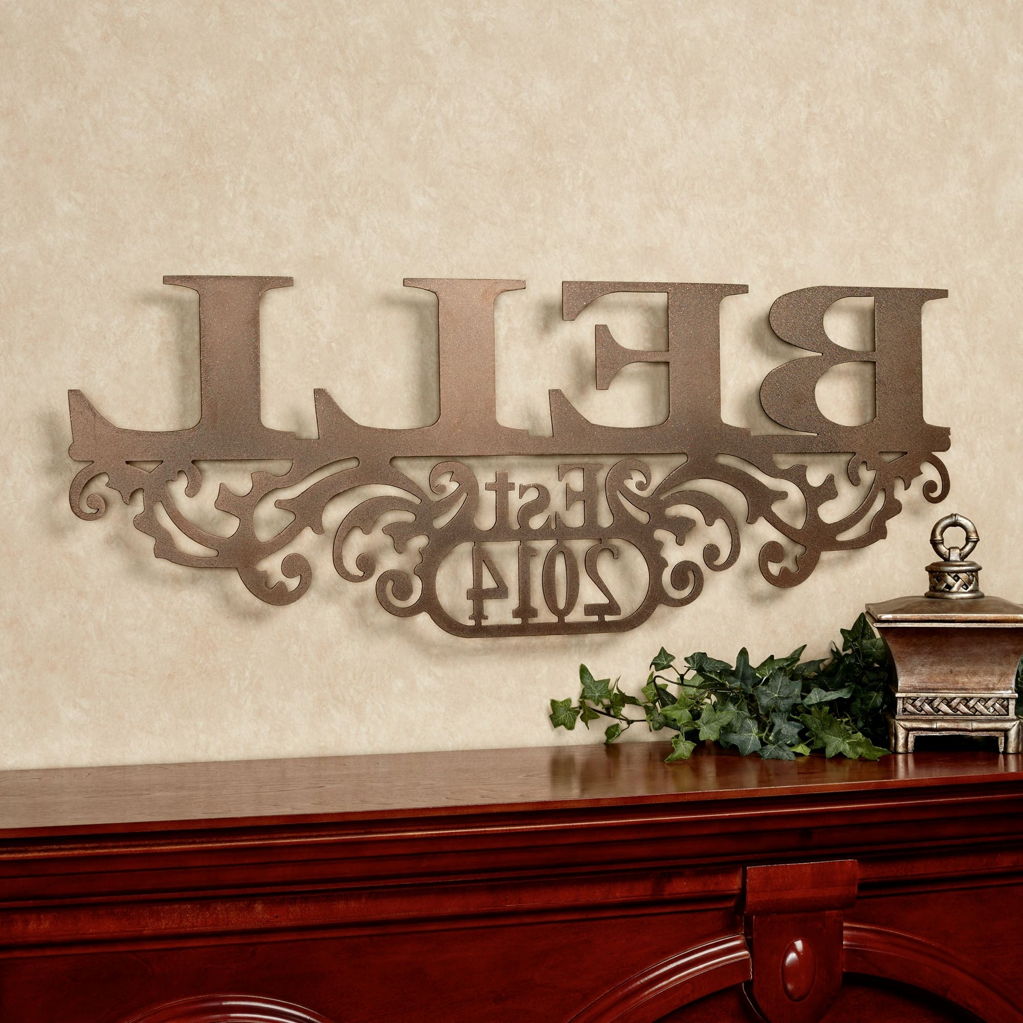 Personalized Wall Art With Names Throughout Most Popular Kinship Bronze Family Name And Year Personalized Metal Wall Art Sign (View 10 of 15)