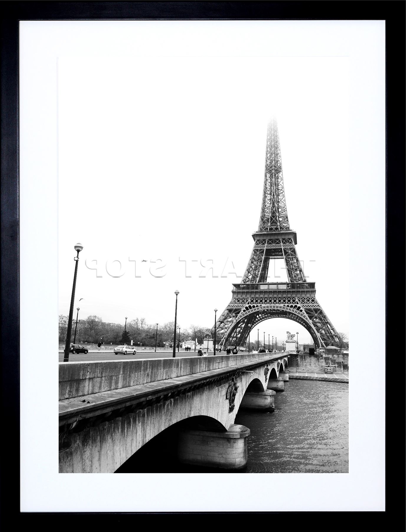 Photo Landmark Eiffel Tower Paris France Bw Frame Art Print Throughout 2018 Black And White Paris Wall Art (View 11 of 15)