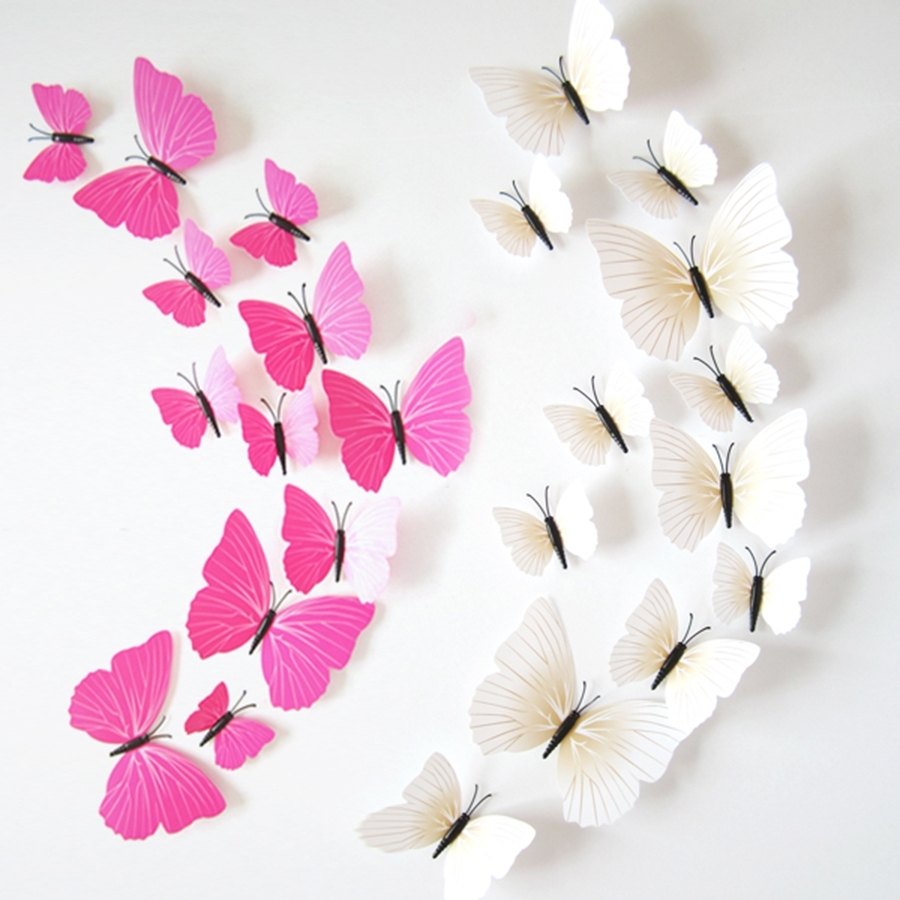 Pink Butterfly Wall Art Pertaining To Favorite Cheap Butterfly Wall Decor 3D, Find Butterfly Wall Decor 3D Deals (View 12 of 15)