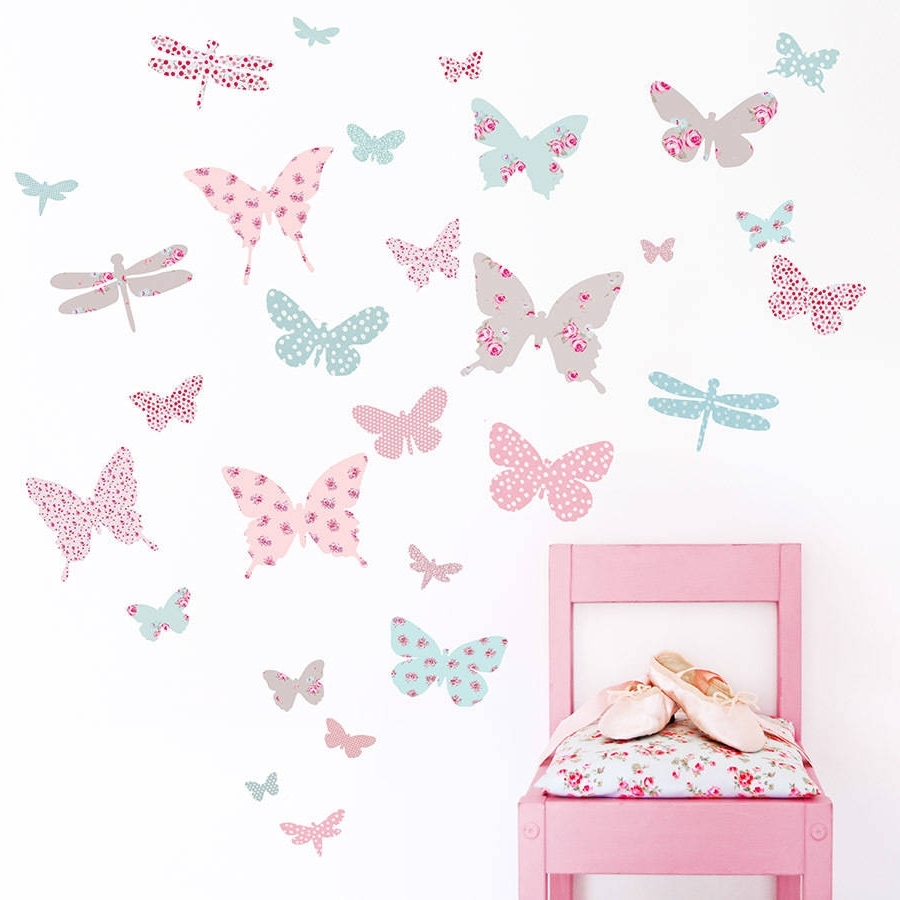 Pink Butterfly Wall Art Regarding Famous Children's Butterfly Fabric Wall Stickerskoko Kids (View 2 of 15)