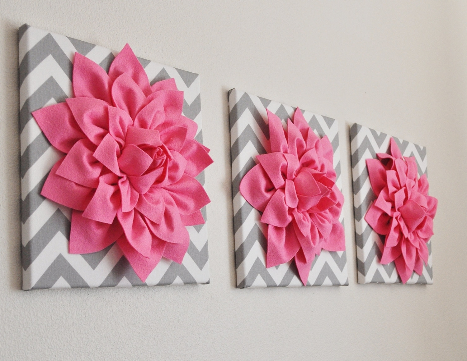 Pink Flower Wall Art For Recent Bright Pink Wall Art  Set Of Three Pink Dahlias On Gray And White (View 5 of 15)