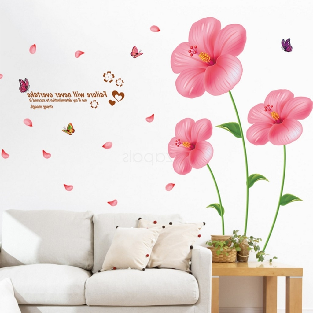 Pink Flower Wall Art Throughout 2017 Flower Wall Stickers Living Room Bedroom Wall Art Decals (View 6 of 15)